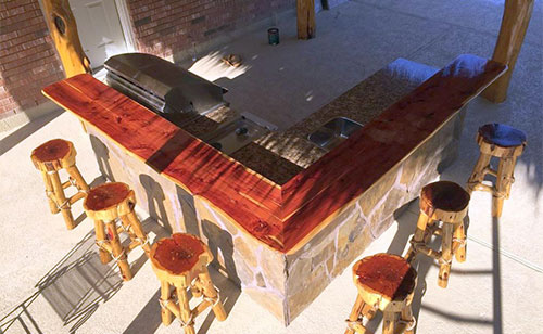 red cedar outdoor custom kitchen grill houston texas