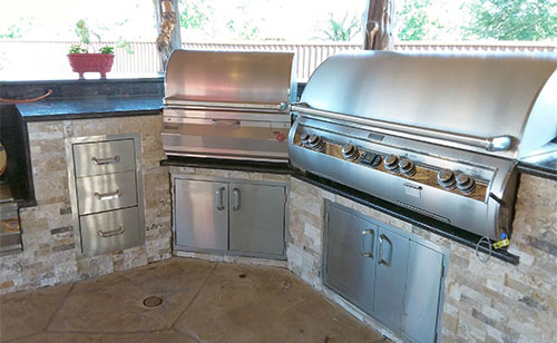 backyard custom outdoor kitchen grill houston texas