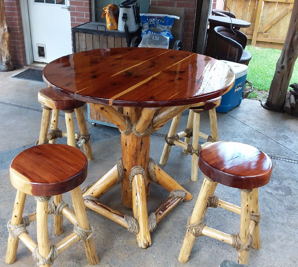 custom cedar table and stools