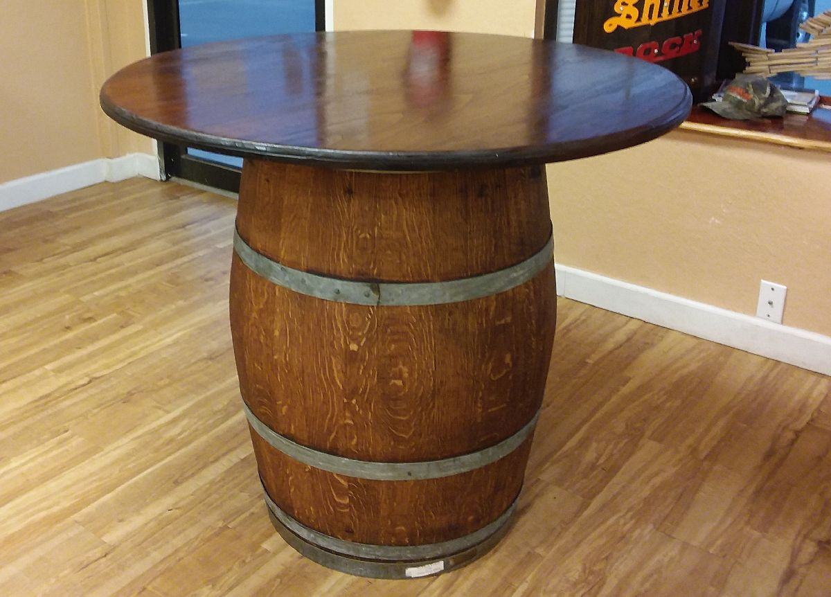 whiskey barrel outdoor table