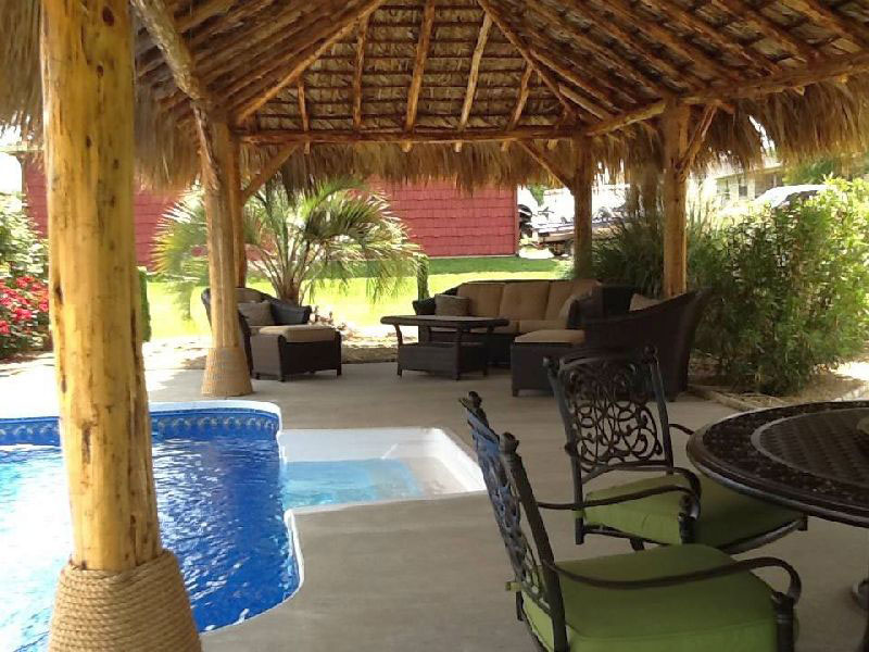 indoor pool palapa tiki hut