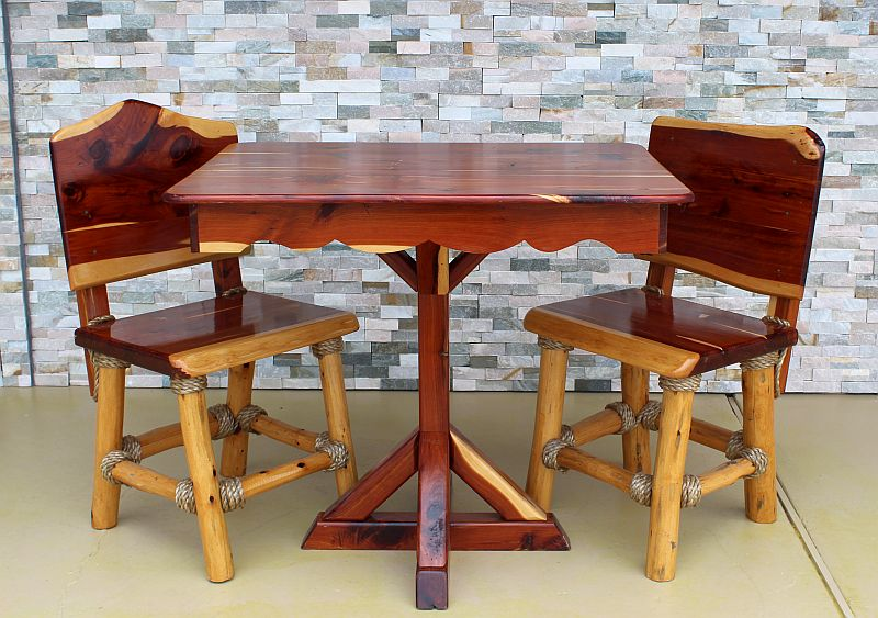 custom cedar table with custom made cedar chairs luxury palapas manvel tx