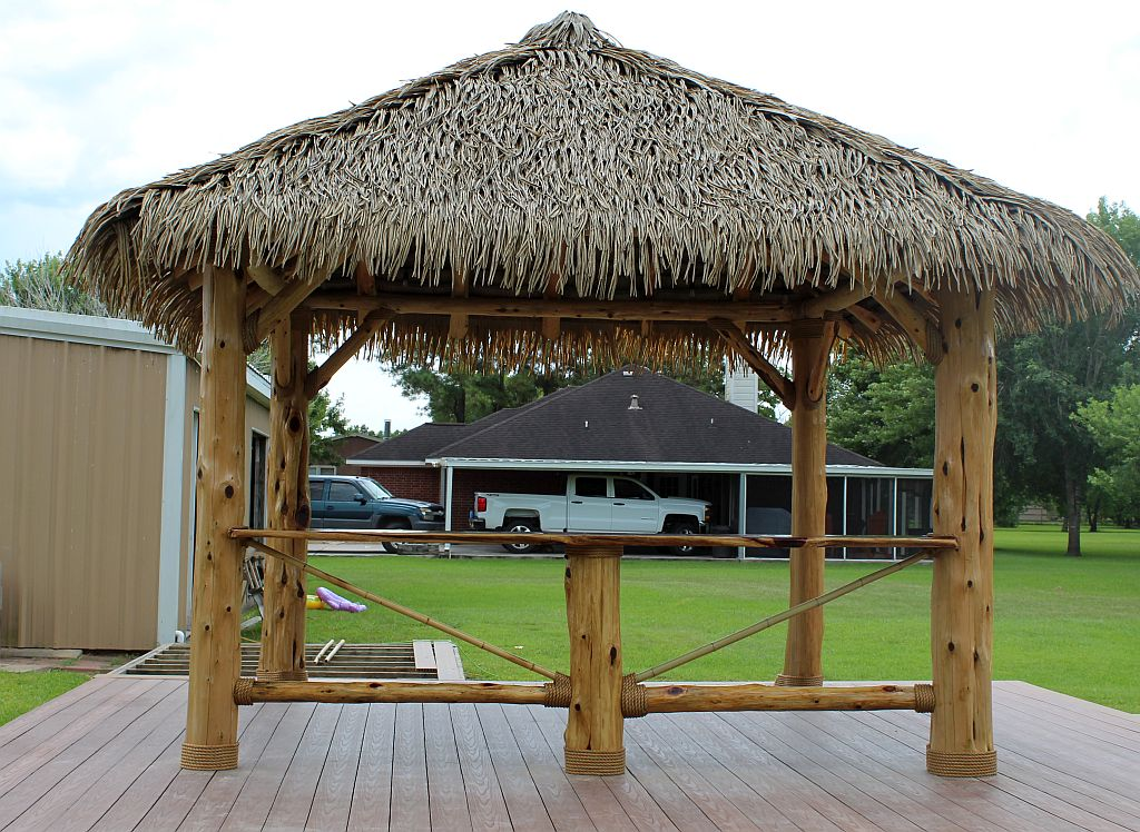 synthetic palm palapa structure-tiki huts houston tx